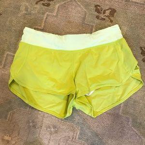 Lululemon Neon Green Speed Shorts.